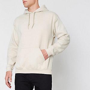 Sweat à capuche en jersey grège à manches longues