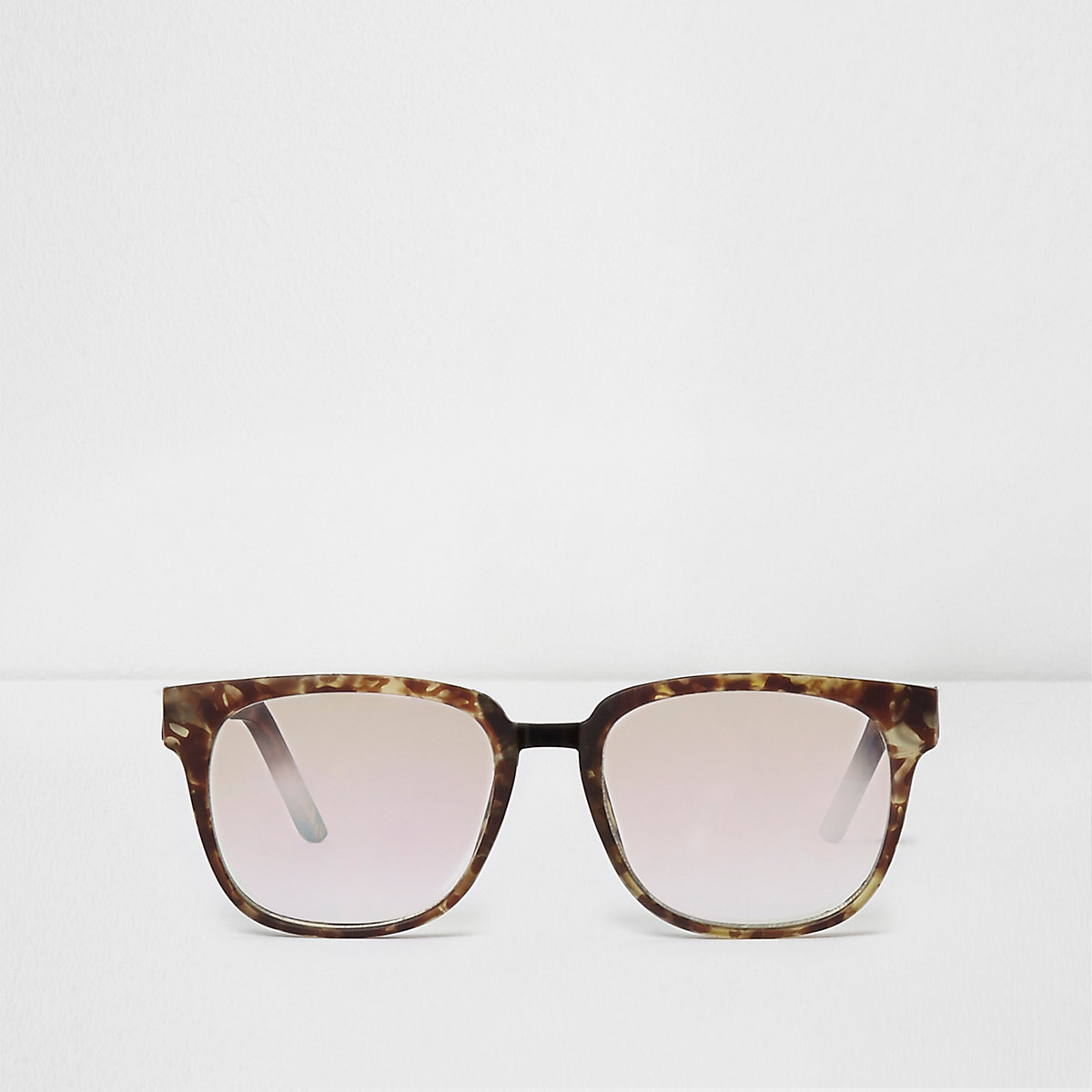 Brown tortoiseshell clear lenses sunglasses