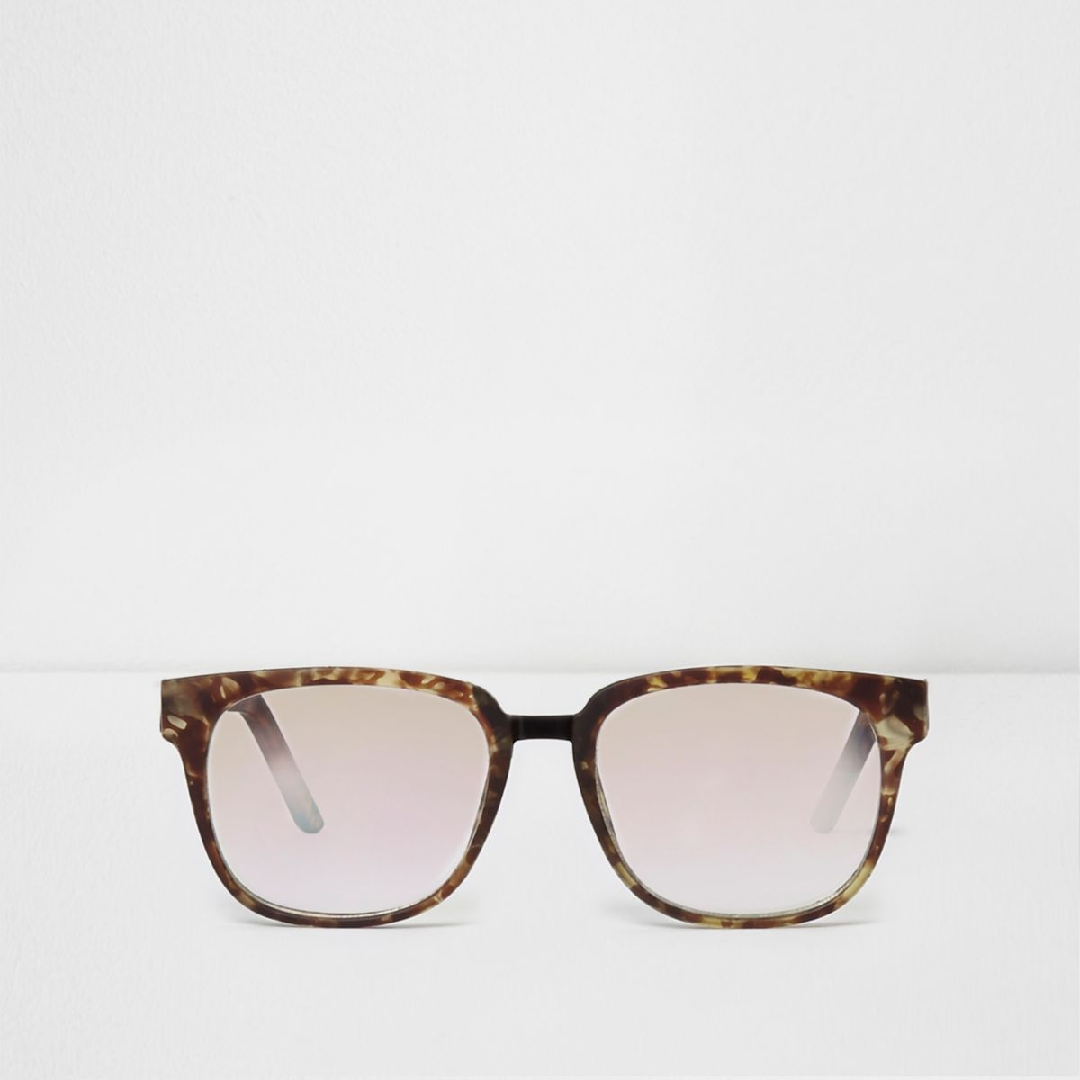 Braune Schildpatt-Sonnenbrille mit transparenten Gläsern