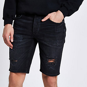 Washed black ripped Sid skinny denim shorts