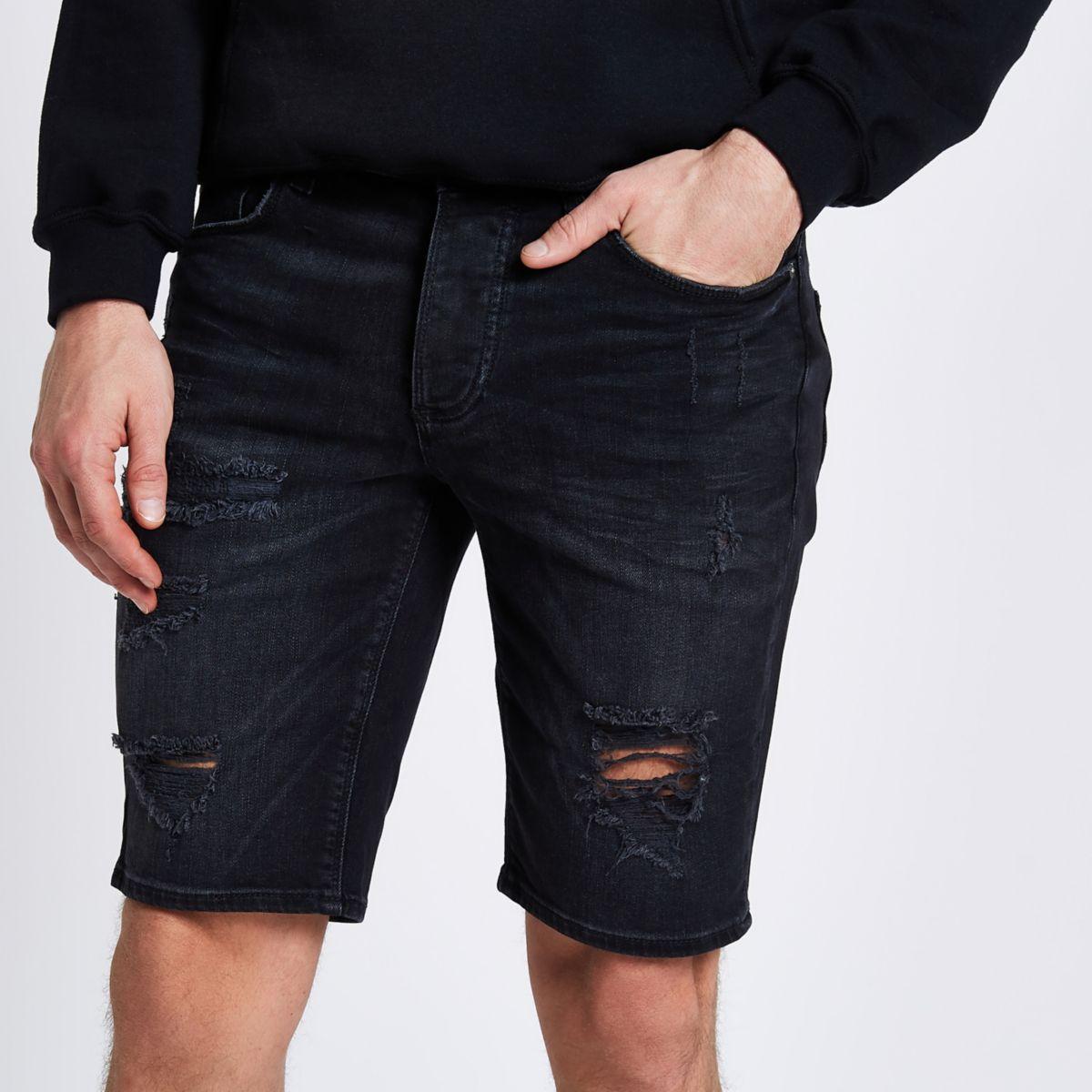 Washed black ripped Sid skinny denim shorts