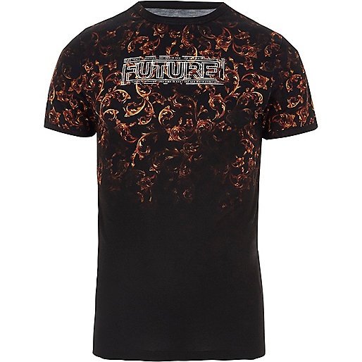 Black 'future' print muscle fit T-shirt