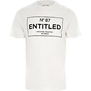 T-shirt slim à imprimé floqué «entitled» blanc