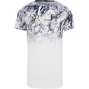 Weißes, meliertes Muscle Fit T-Shirt