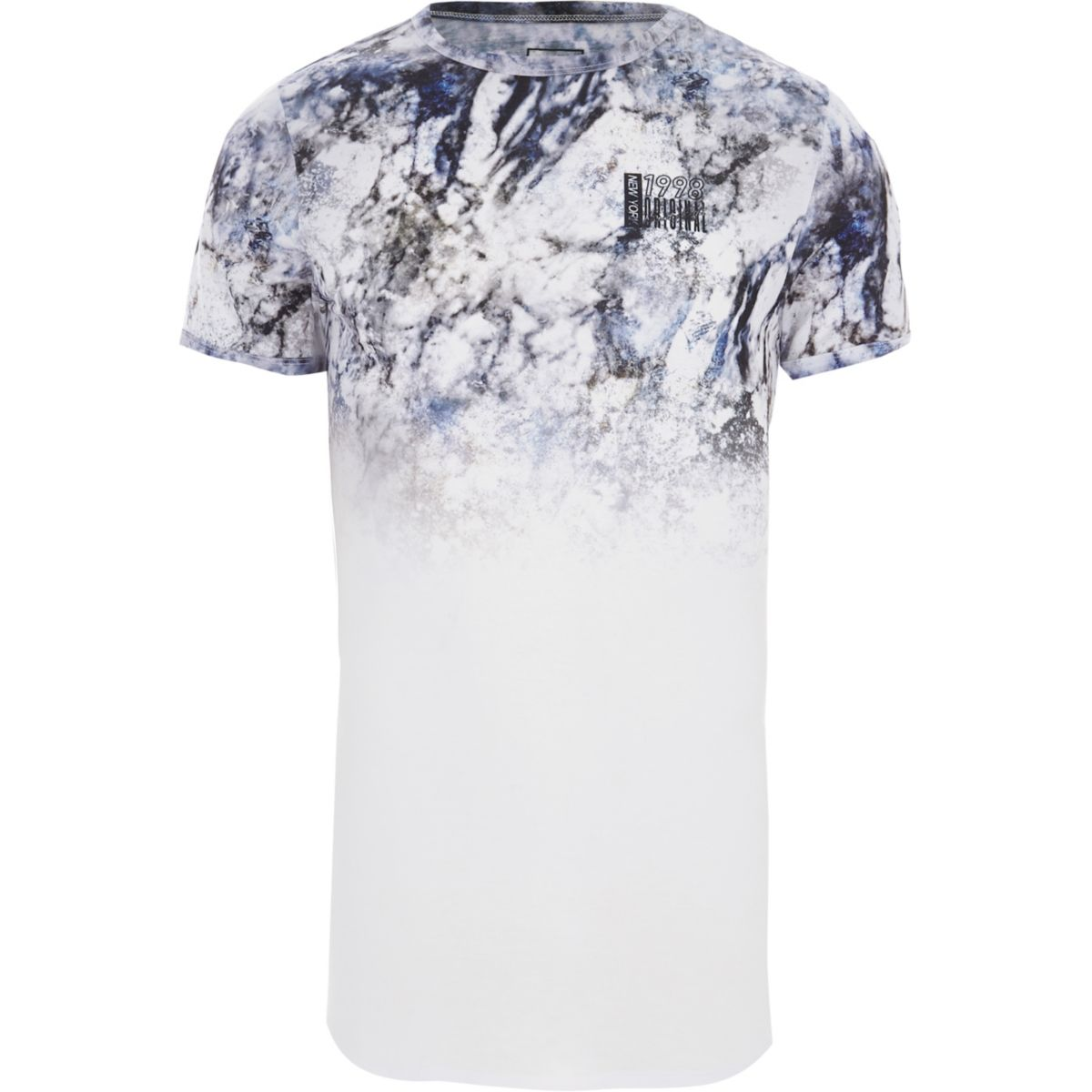 White marble fade muscle fit T-shirt