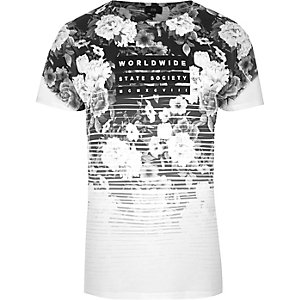 Black mono floral fade 'worldwide' T-shirt