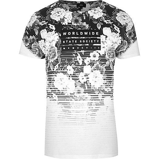 Black mono floral fade 'worldwide' T-shirt