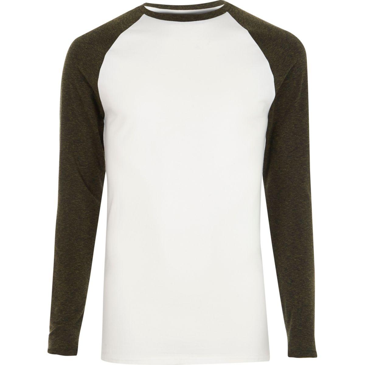 White and khaki long sleeve raglan T-shirt