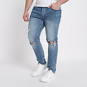 RI Big and Tall - Middenblauwe ripped skinny jeans