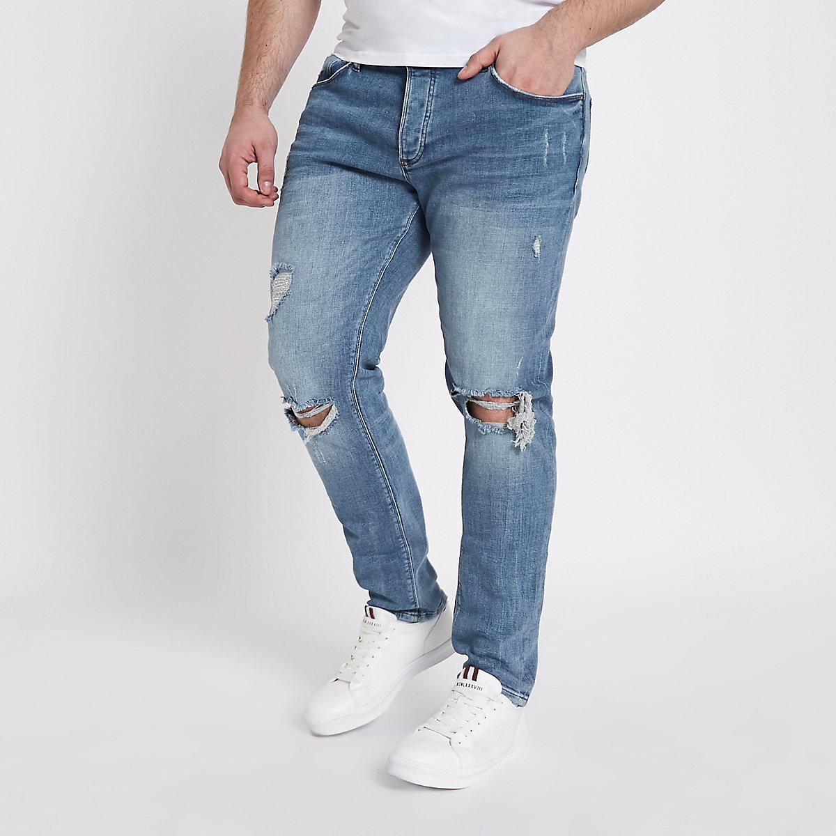 Big and Tall Eddy mid blue ripped skinny jean