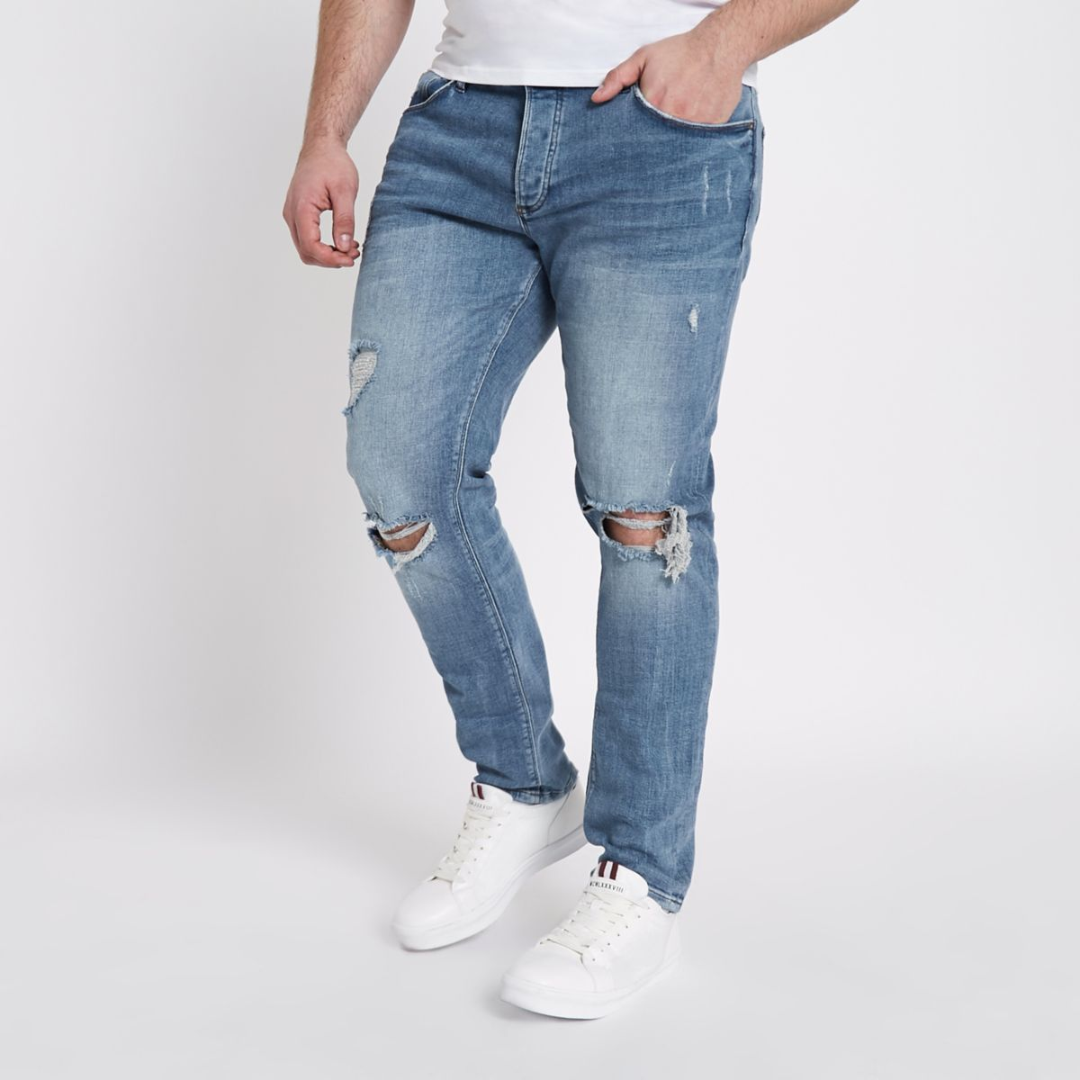 Big and Tall - Middenblauwe ripped skinny jeans