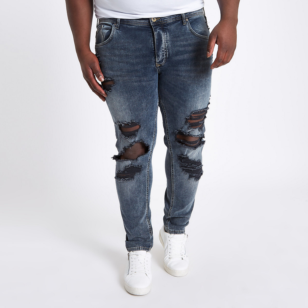 Big and Tall blue Sid ripped skinny jeans