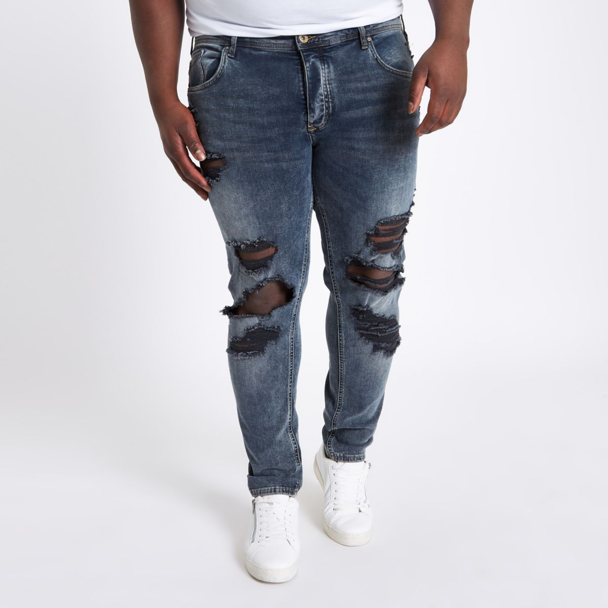 Big and Tall - Sid - Blauwe ripped skinny jeans