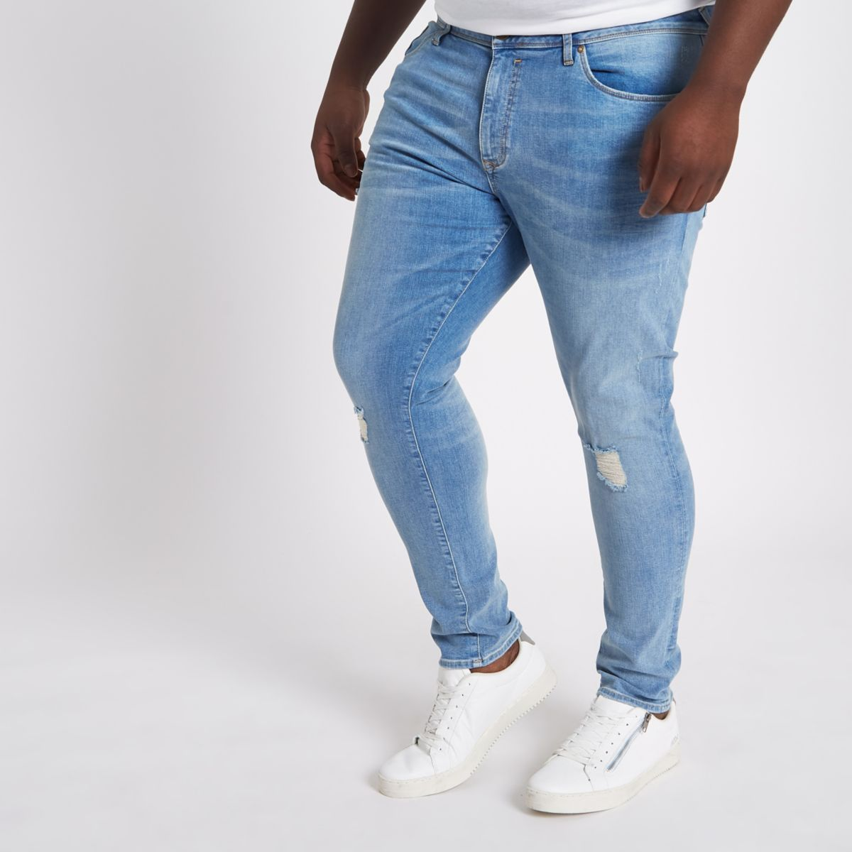 Big and Tall – Dylan – Blaue Superskinny Jeans
