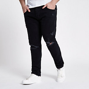 Big and Tall black ripped Jimmy tapered jeans
