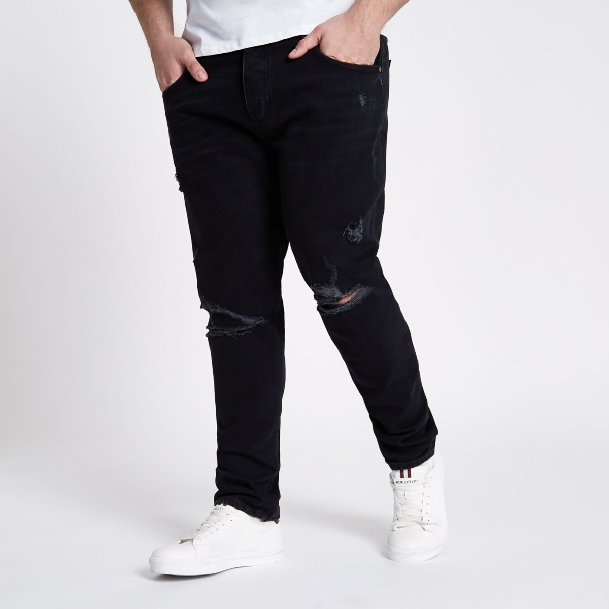 Big & Tall - Jimmy - Zwarte ripped smaltoelopende jeans