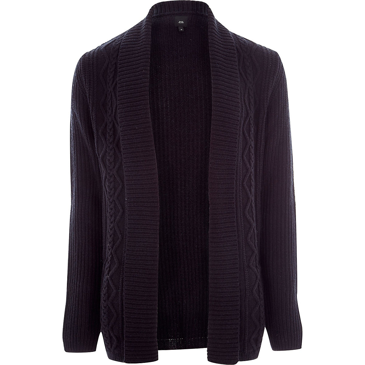 Big and Tall navy cable knit cardigan