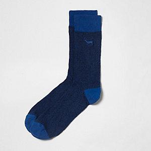 Chaussettes bleues à broderie cerf