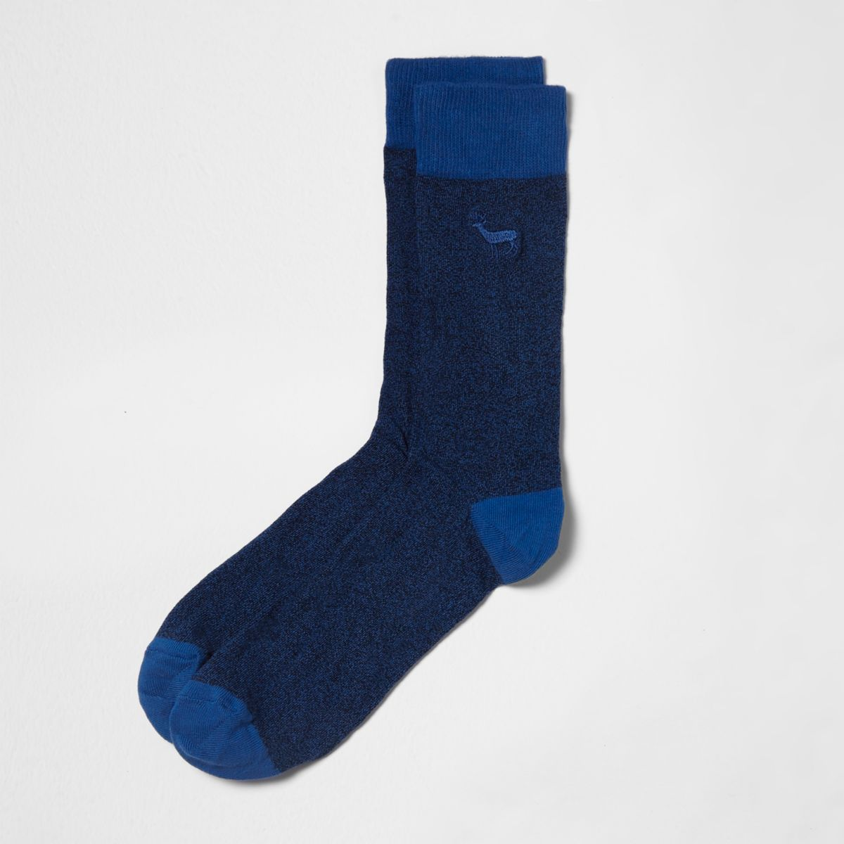 Blue stag embroidered socks