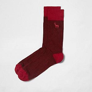 Chaussettes rouges à broderie cerf