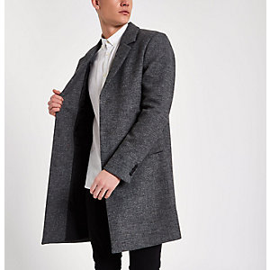 Grey smart tailored overcoat