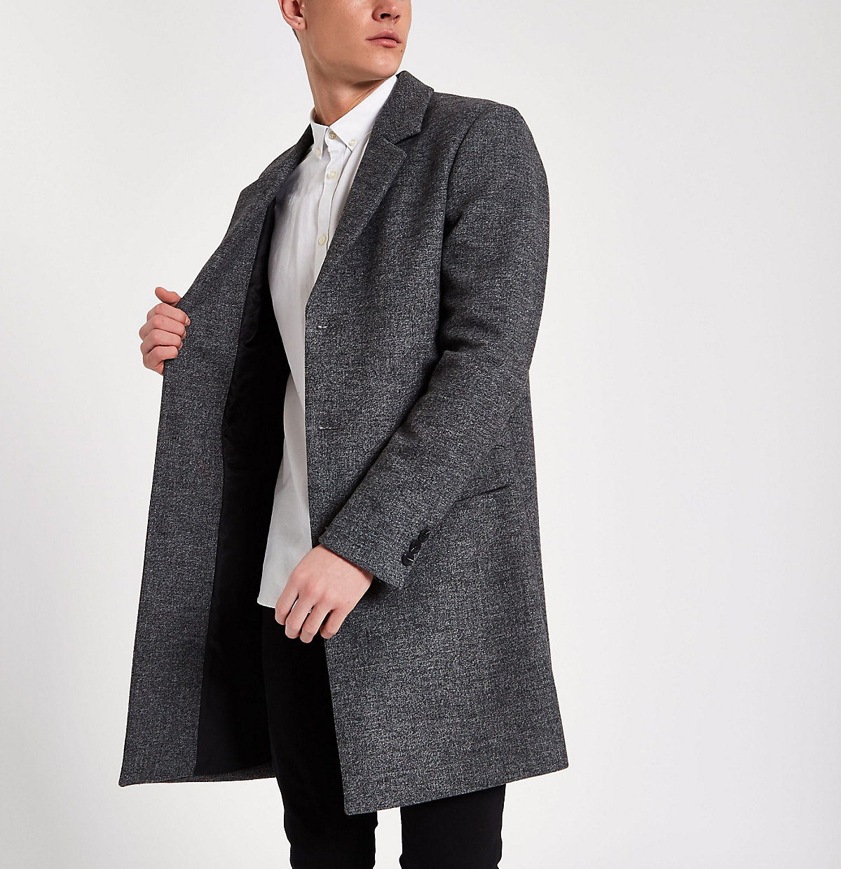 Grey smart tailored wool overcoat