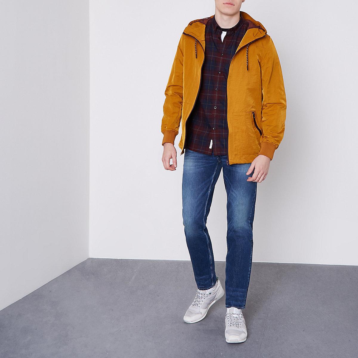 Mustard yellow nylon hooded jacket