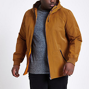 Big and Tall mustard yellow hooded jacket