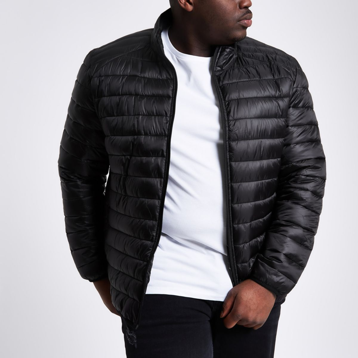 Big and Tall black quilted jacket