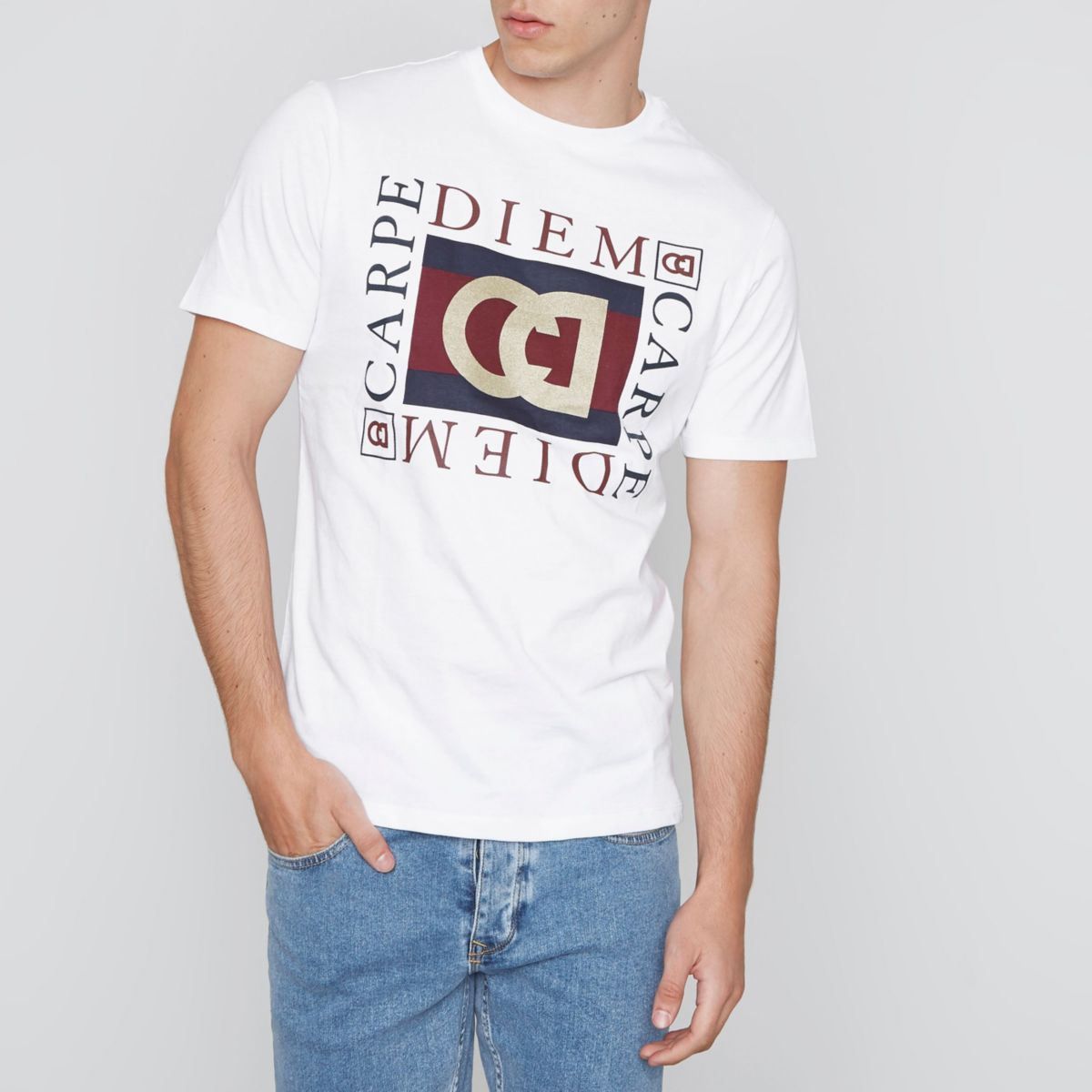 White 'carpe diem' print slim fit T-shirt