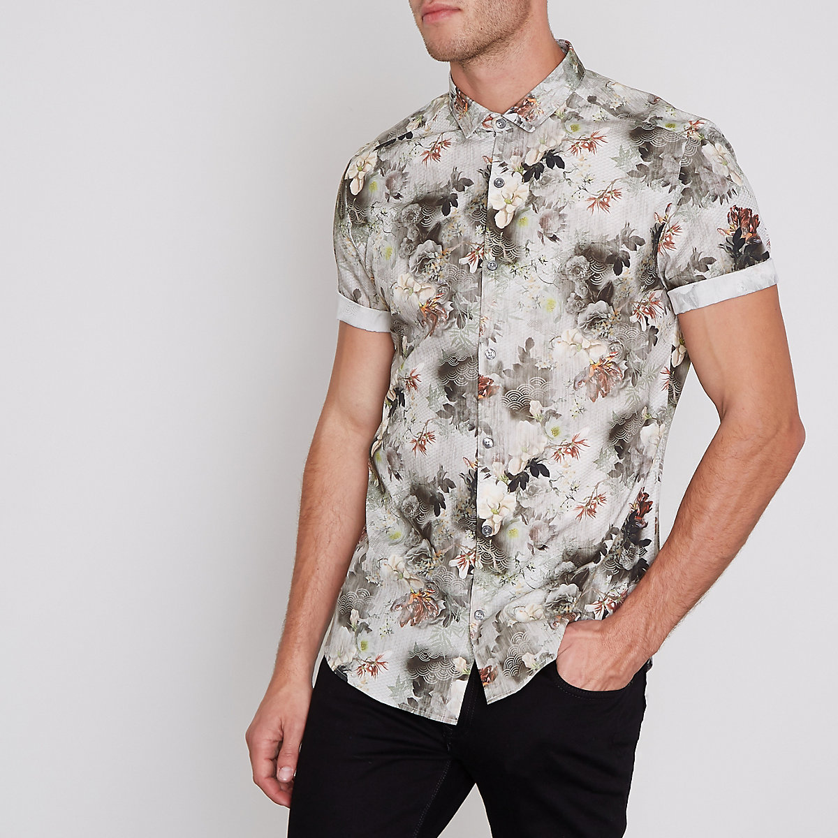 Cream floral geo slim fit short sleeve shirt