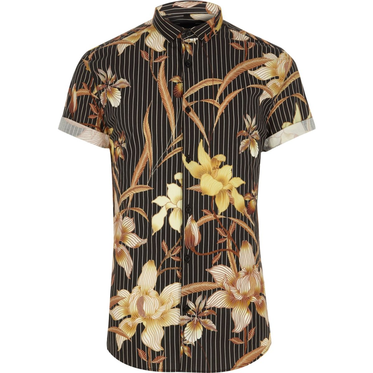 Chemise ajustée à rayures et fleurs noire