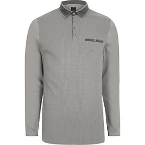 Grey geo print blocked slim fit polo shirt