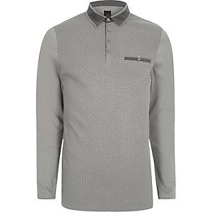 Grey geo print blocked slim fit polo shirt