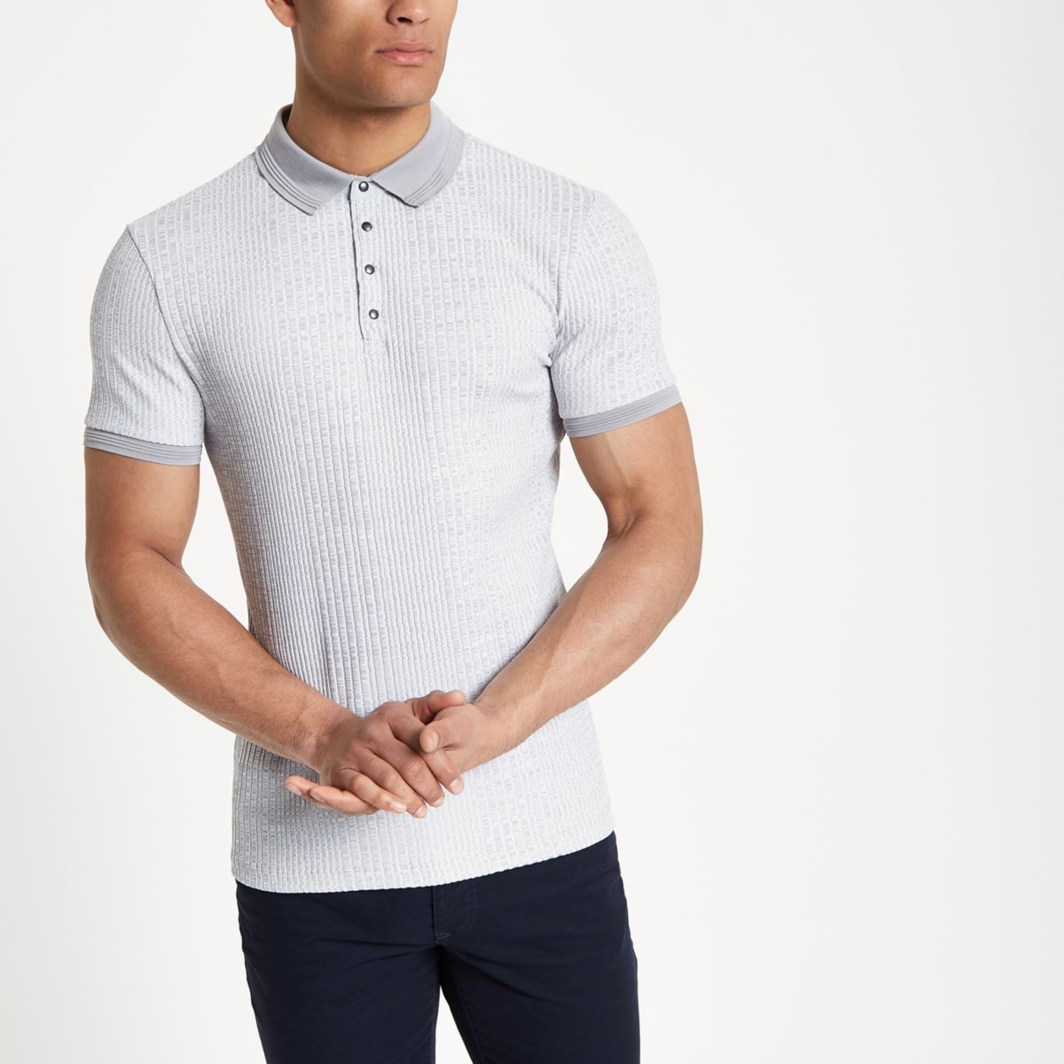 Grey textured ribbed muscle fit polo shirt