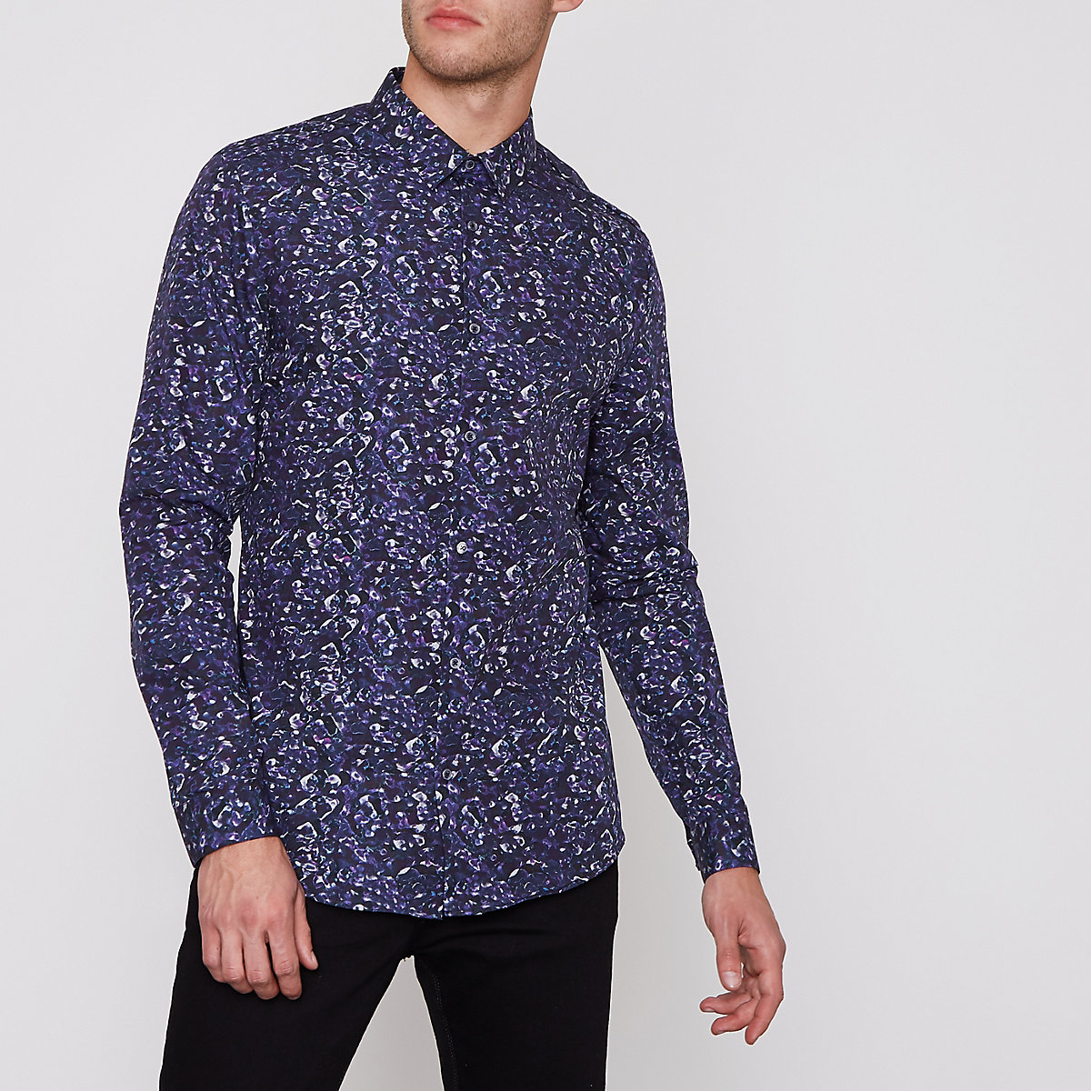 Blue floral print slim fit long sleeve shirt