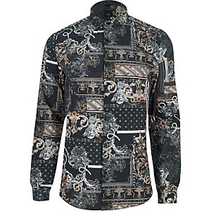 Zwart slim-fit overhemd met barokke print
