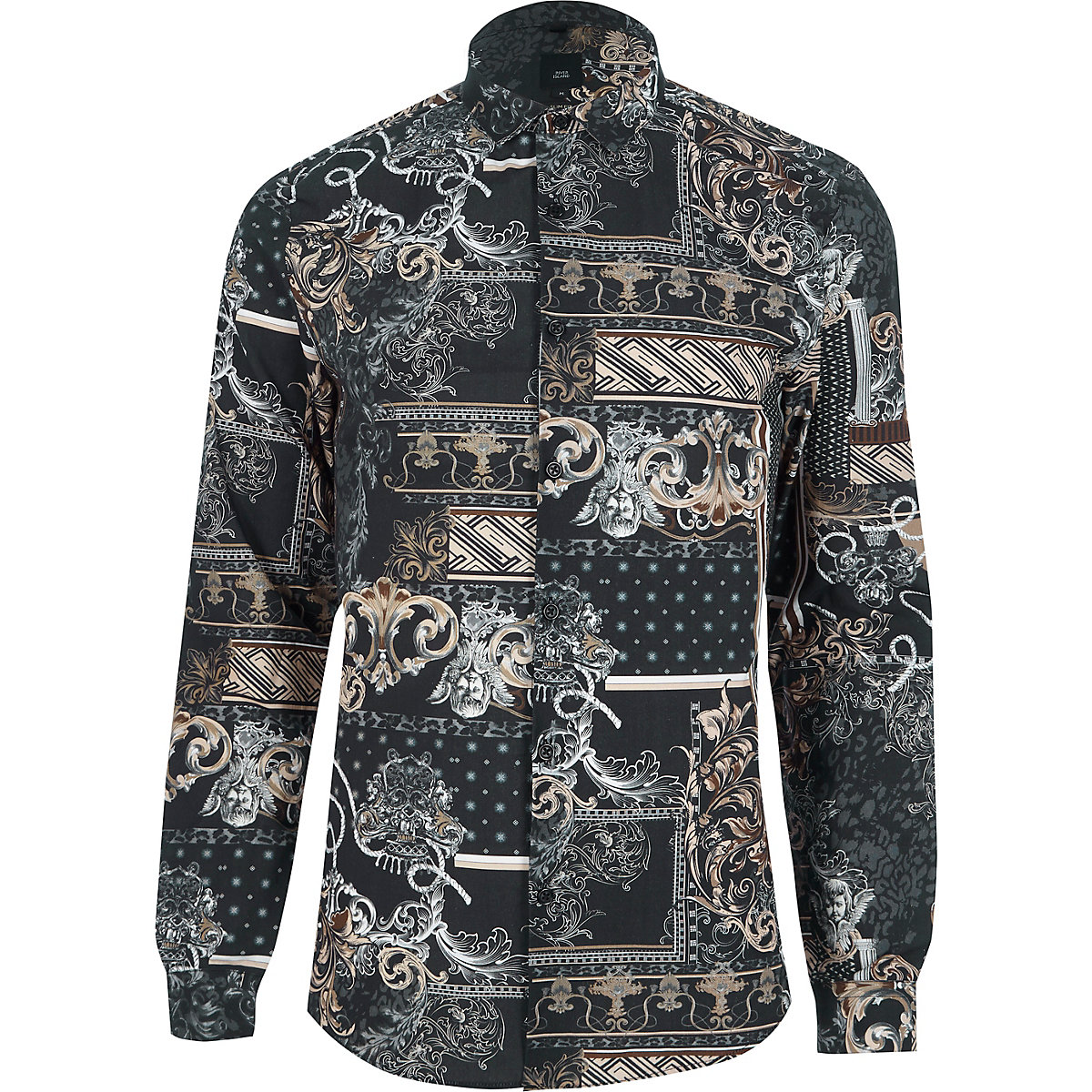 Black baroque print slim fit shirt