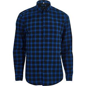 Chemise slim à carreaux bleue manches longues