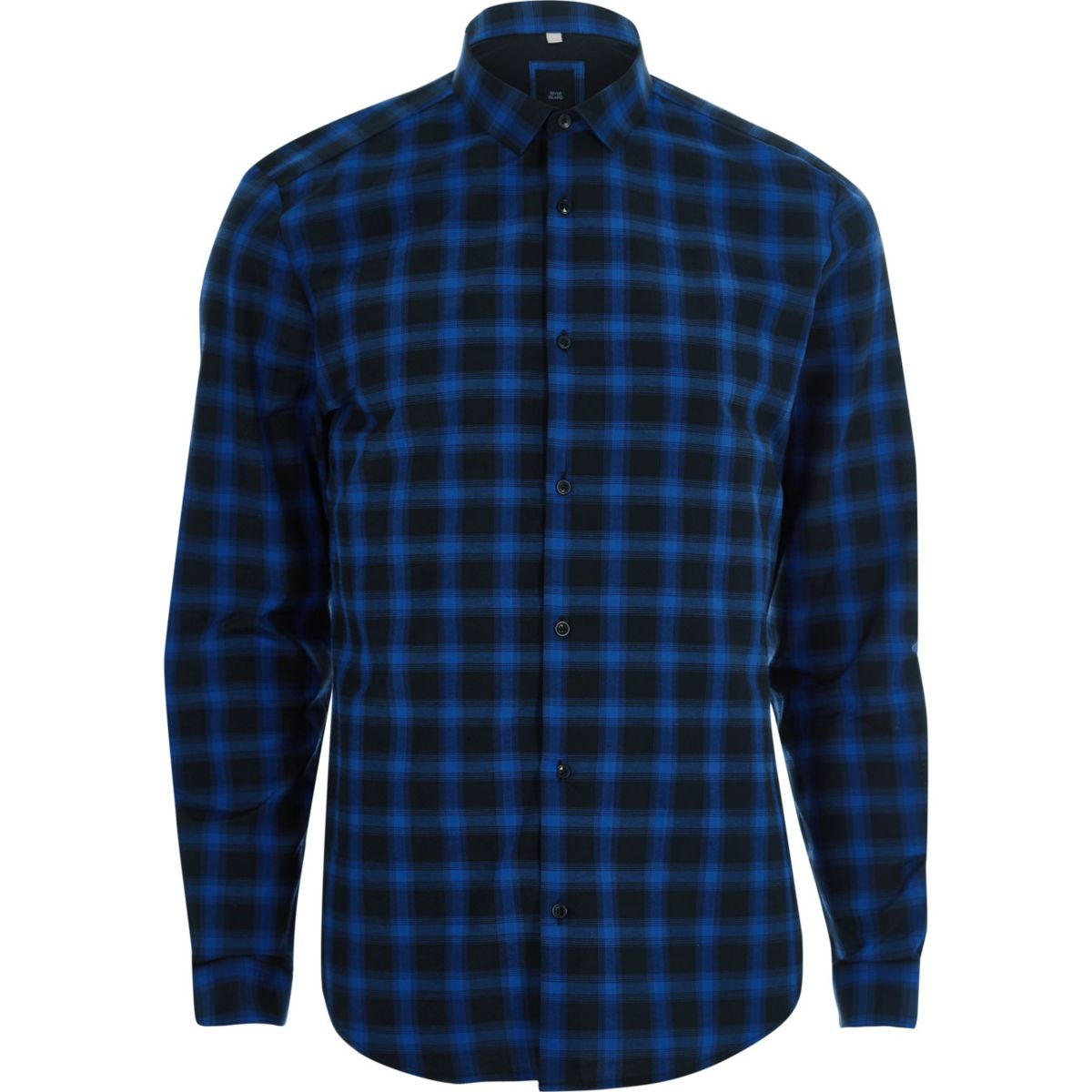 Blue check long sleeve slim fit shirt