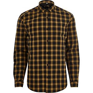Yellow check long sleeve slim fit shirt