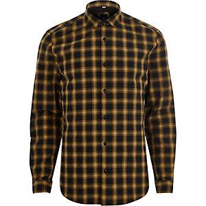 Geel geruit slim-fit overhemd met lange mouwen