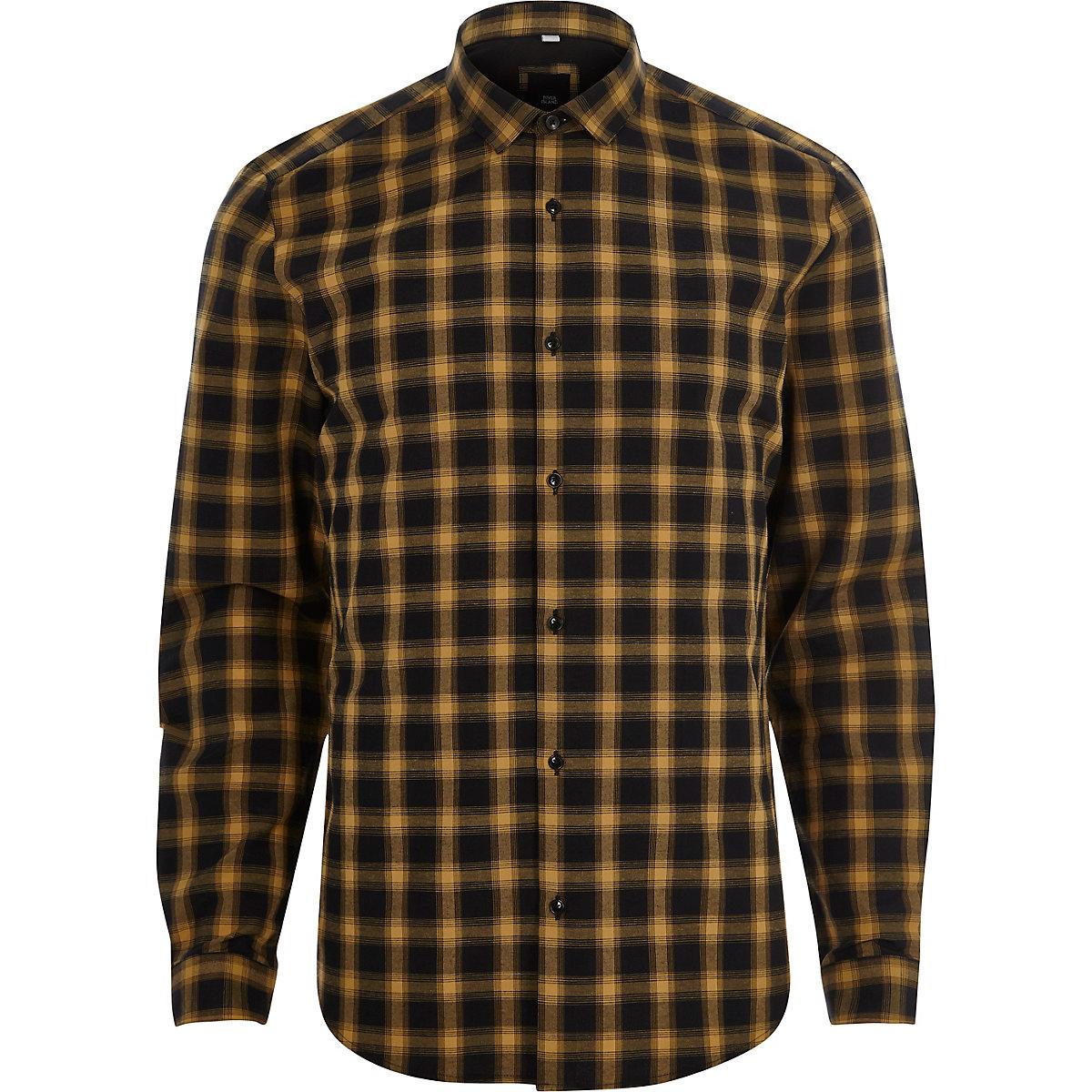Yellow check long sleeve slim fit shirt