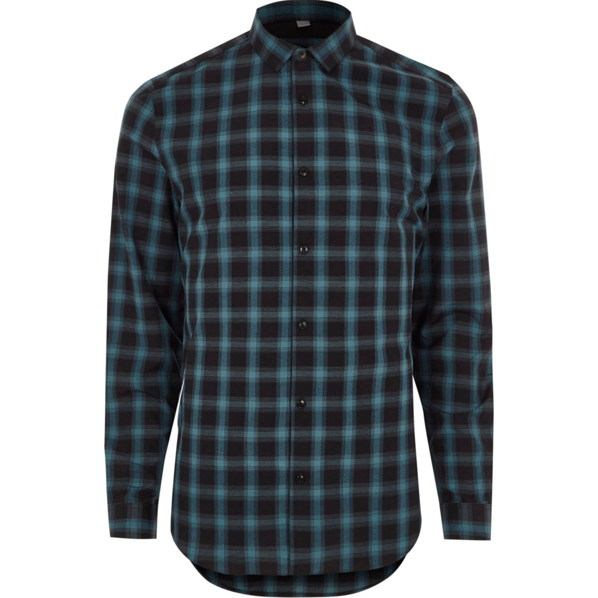 Turquoise blue check slim fit shirt