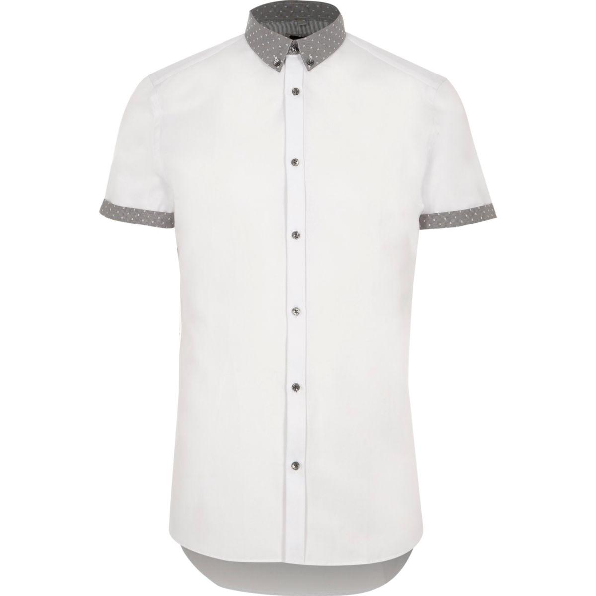 white ditsy collar short sleeve slim shirt shirts sale