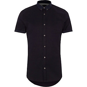 Navy ditsy collar short sleeve slim fit shirt