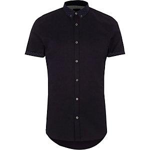 Marineblauw slim-fit overhemd met gebloemde kraag en korte mouwen