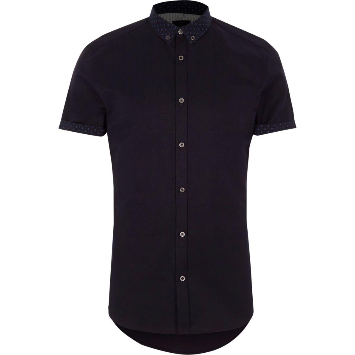 Navy ditsy collar short sleeve slim fit shirt