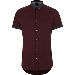 Slim Fit Hemd mit kleingemustertem Kragen