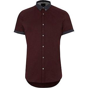 Rood slim-fit overhemd met gebloemde kraag en korte mouwen